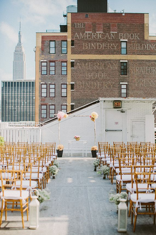 urban chic wedding roof top terrace