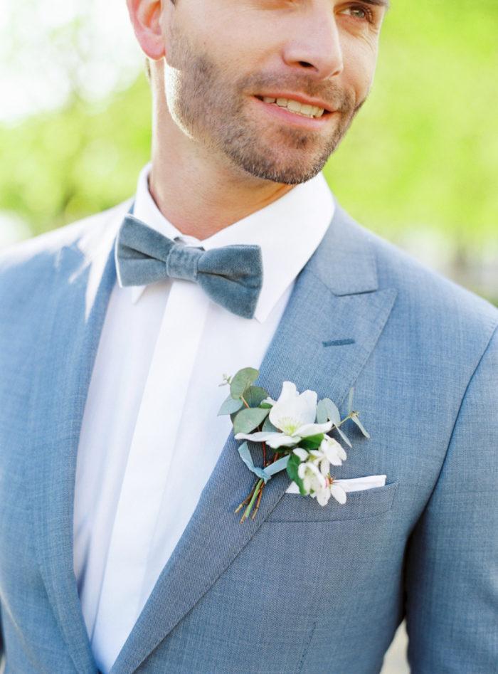 boutonniere velvet bow tie in dusty blue color palette velvet themed wedding wedding castle in germany getting married in germany wedding venue