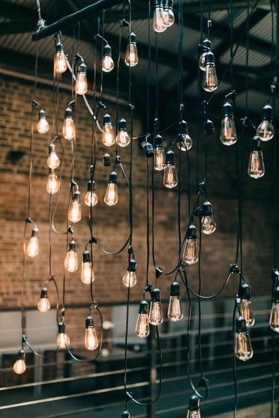 urban chic wedding festoon lights