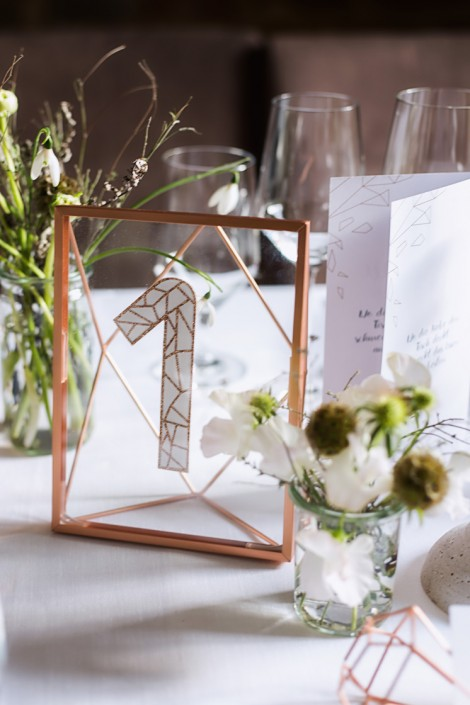 urban chic wedding copper table details