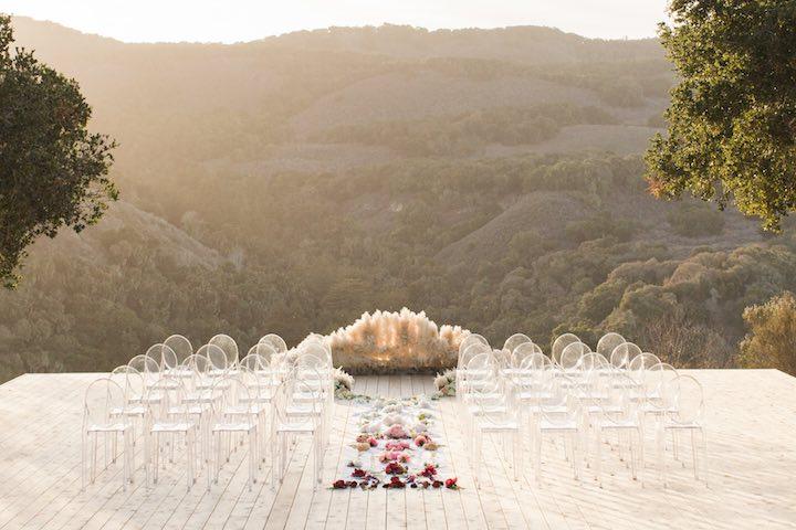 Boho Glam Wedding Ceremony Pampas