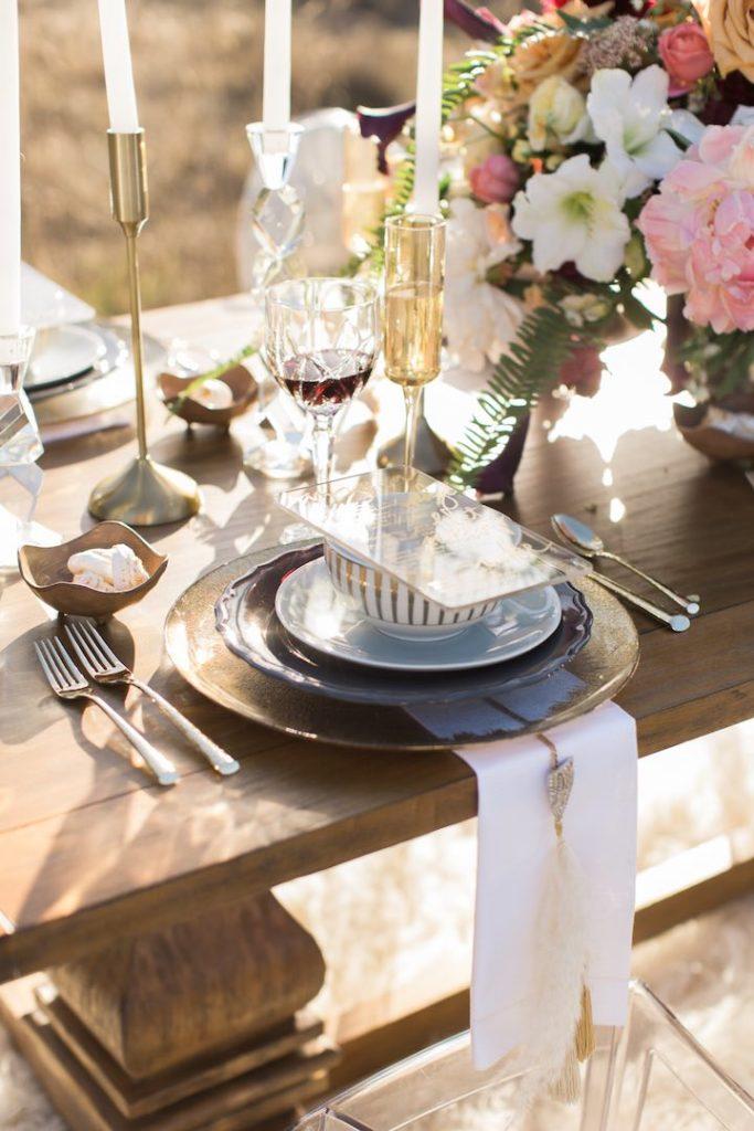 Boho Glam Wedding Table Scape 01