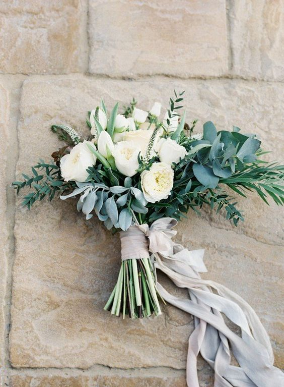 urban chic bridal bouquet with silk ribbon
