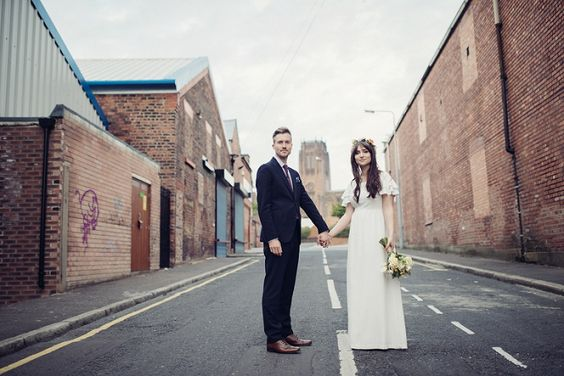 urban chic wedding couple on the street