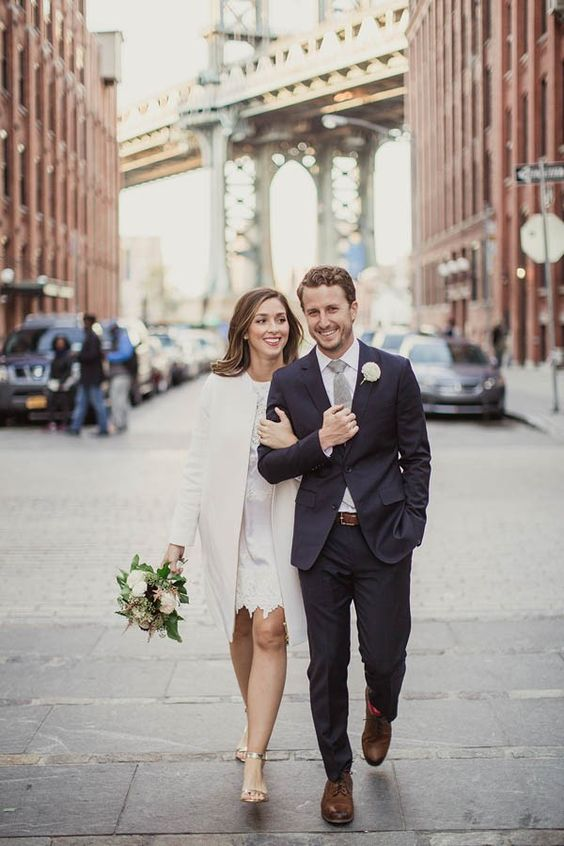 urban chic wedding bride and groom