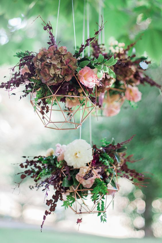 urban chic wedding triangle flower
