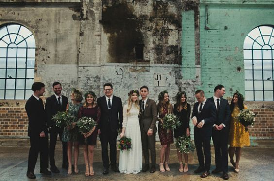urban chic wedding party