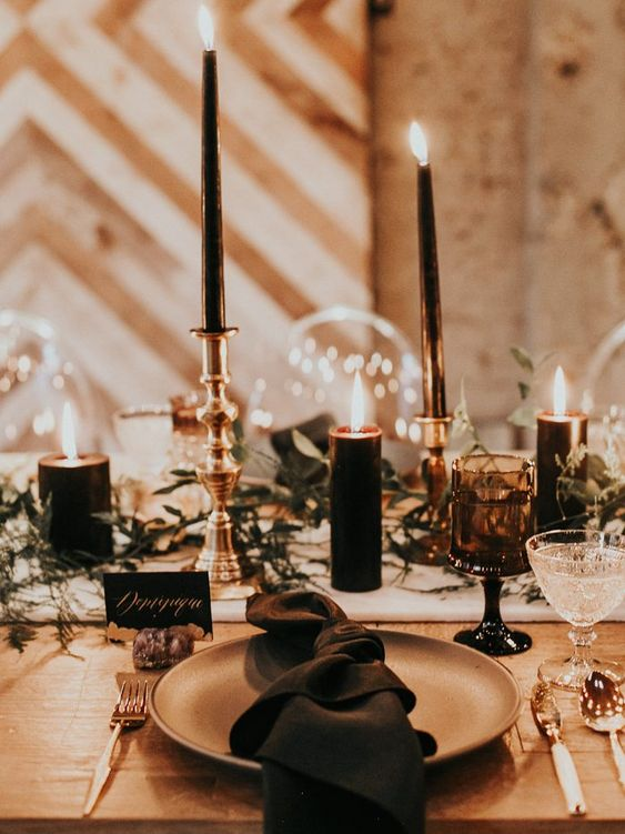 urban chic wedding table set up with black elements