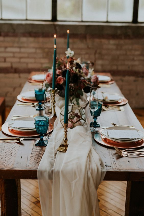 urban chic wedding table decor