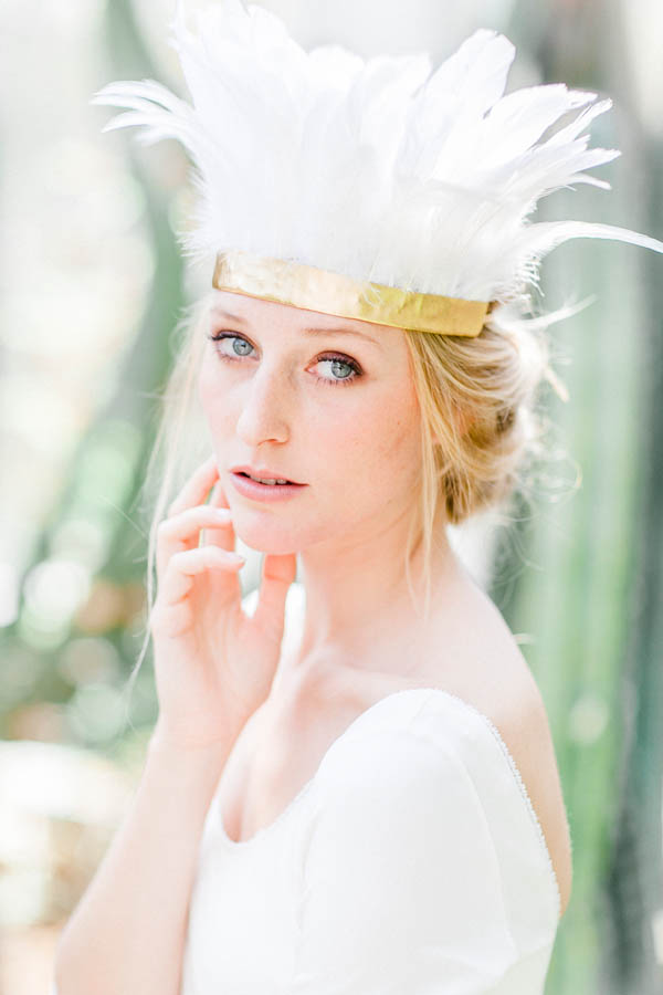 Bridal look with feather crown