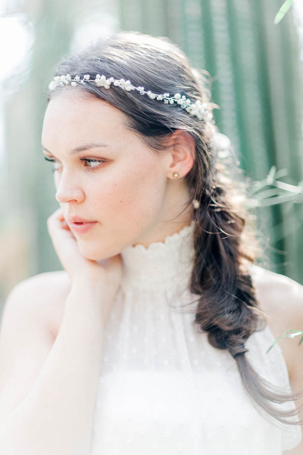 Bridal hair style with beaded hair band
