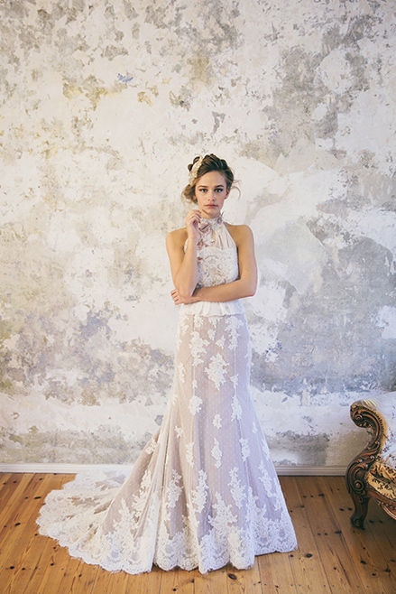 vintage bridal look with lace dress