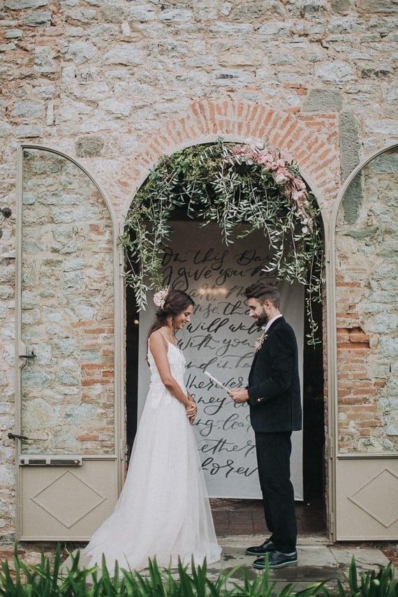 Villa Catreglio Tuscany Wedding Bride Groom Ceremony