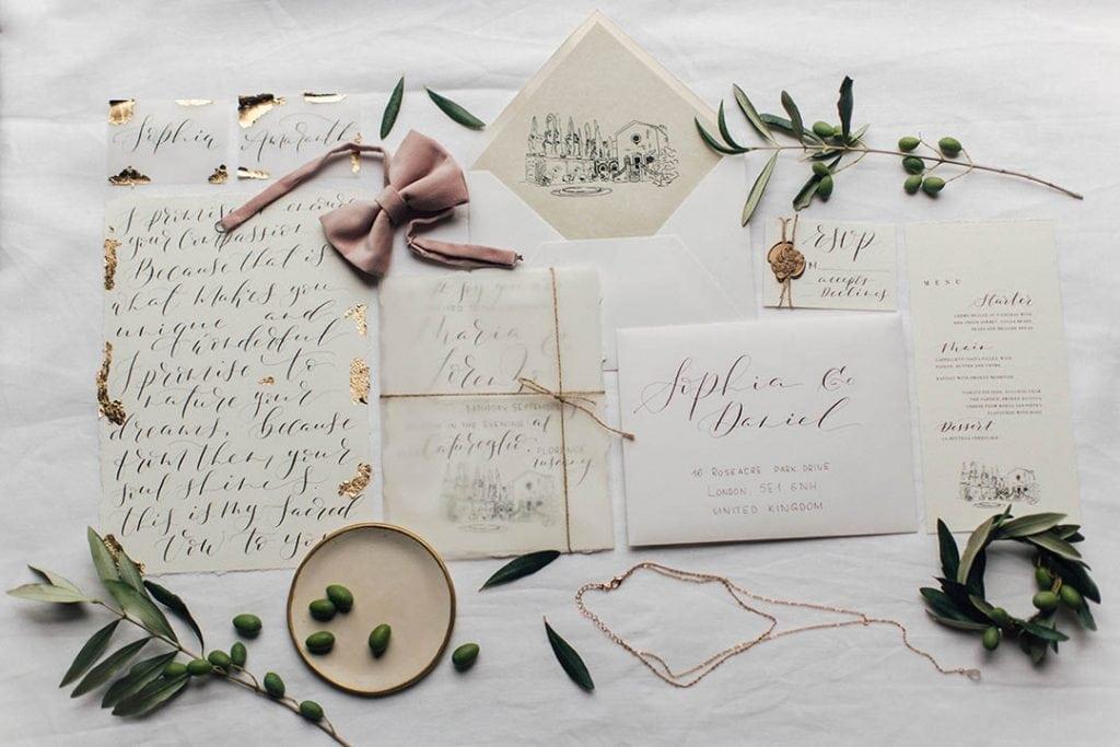 Villa Catureglio Tuscany Wedding Stationary Flatlay