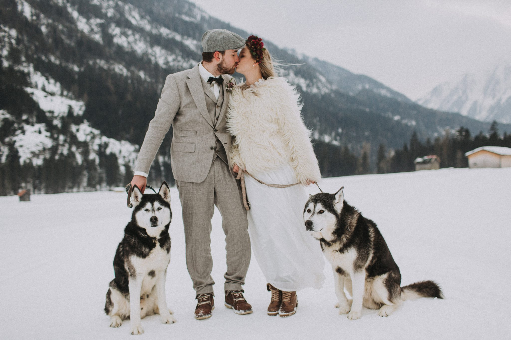 Magnolias On Silk Austria Winter Wedding Couple Huskies