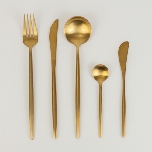 golden cutlery, wedding tableware, dinnerware