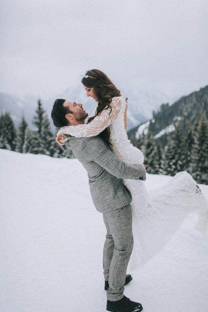 Magnolias On Silk Austria Winter Wedding Couple 1