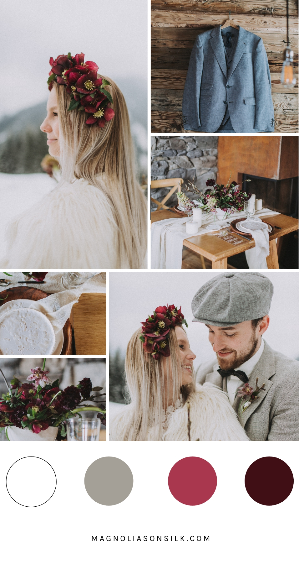 winter wedding moodboard, winter wedding color palette, color scheme for a winter wedding
