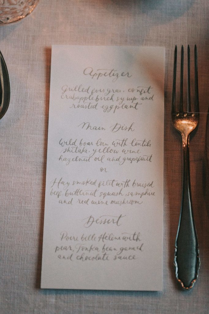 Magnolias On Silk Austria Winter Wedding Stationary Menu Card