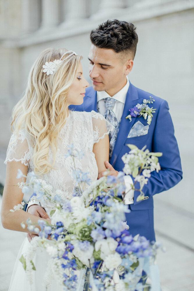 bridal paar und bouquet
