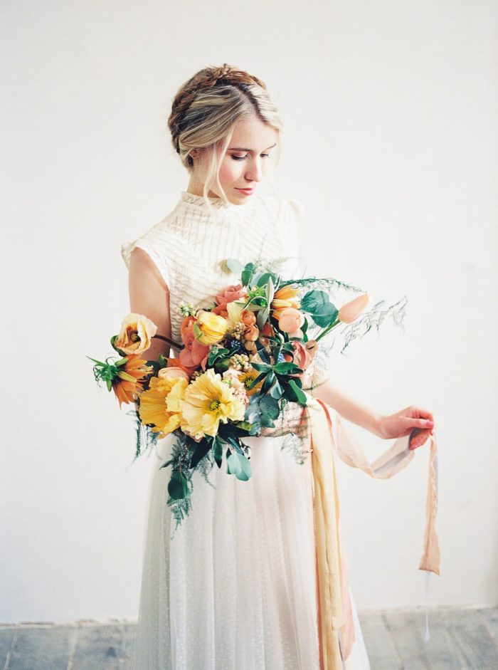 bridal dress inspiration with a beautiful bouquet