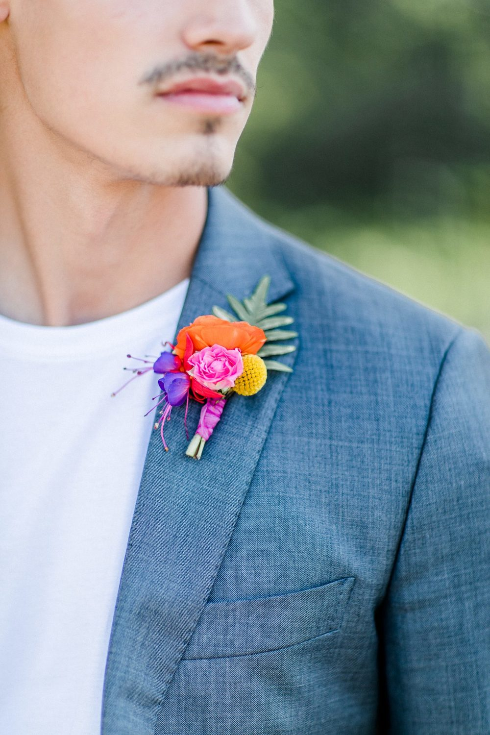 colourful Boutonniere, small little wedding detail, farbenfrohe Boutonniere
