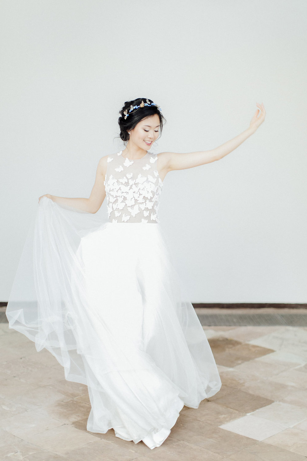 wedding dress, dancing bride, happy bride