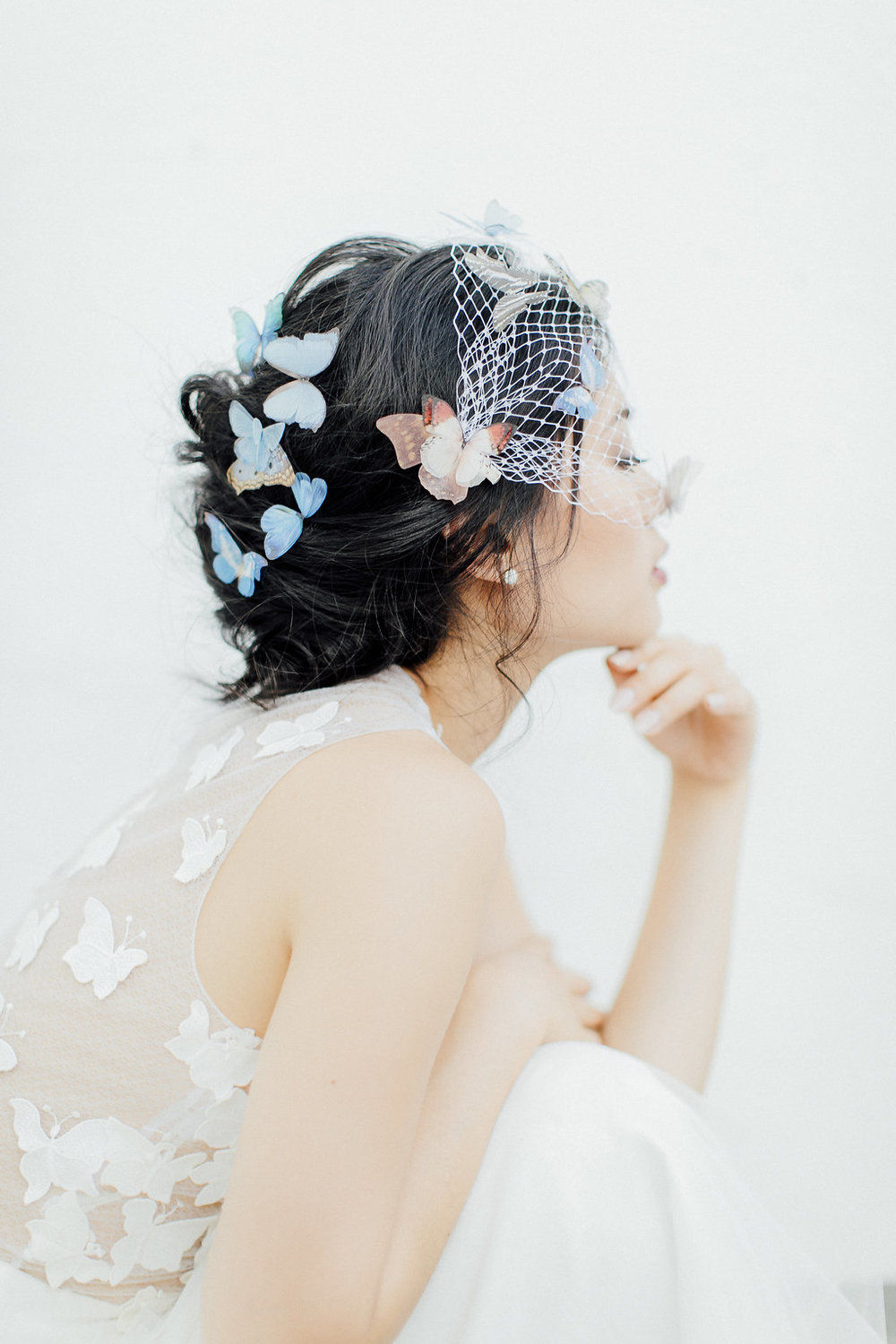 veil, butterflies, butterfly veil, unique wedding