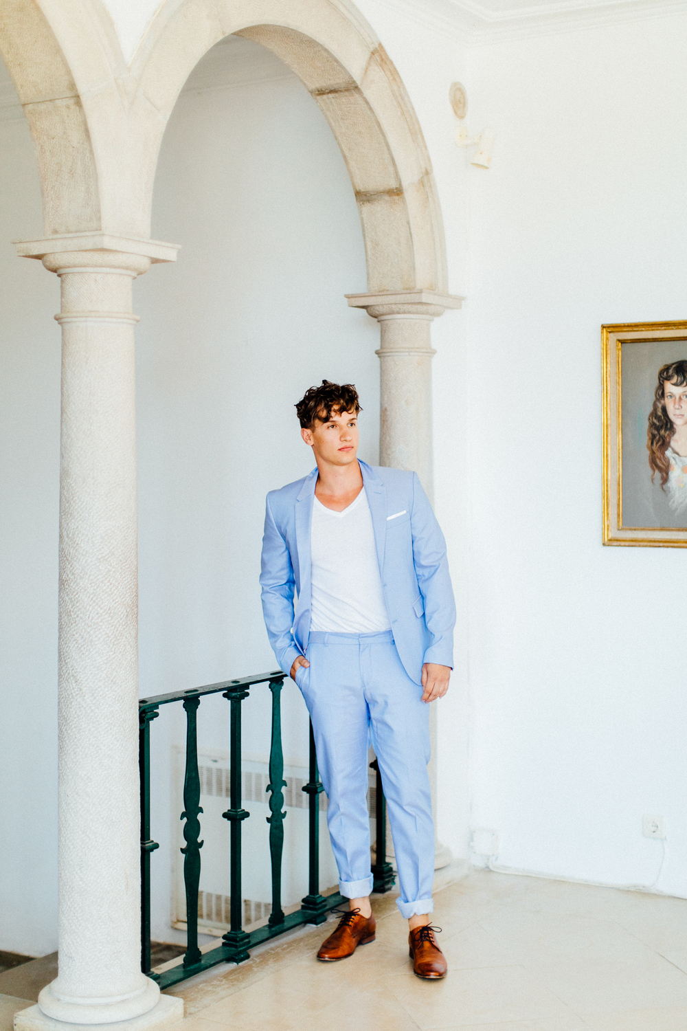 groom, blue suit, light blue modern suit, stylish groom, summer and spring wedding, wedding outfit