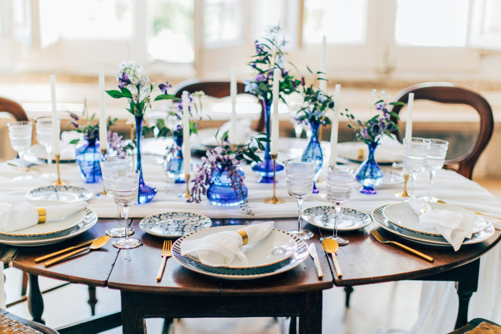wedding table, table scape, wedding table, blue table decoration for a destination wedding