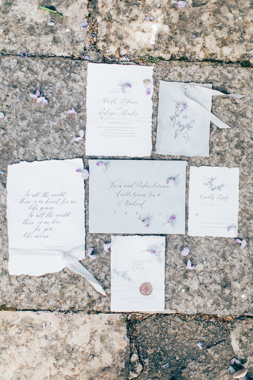 wedding stationery, wedding invitations with calligraphy on white and grey envelopes