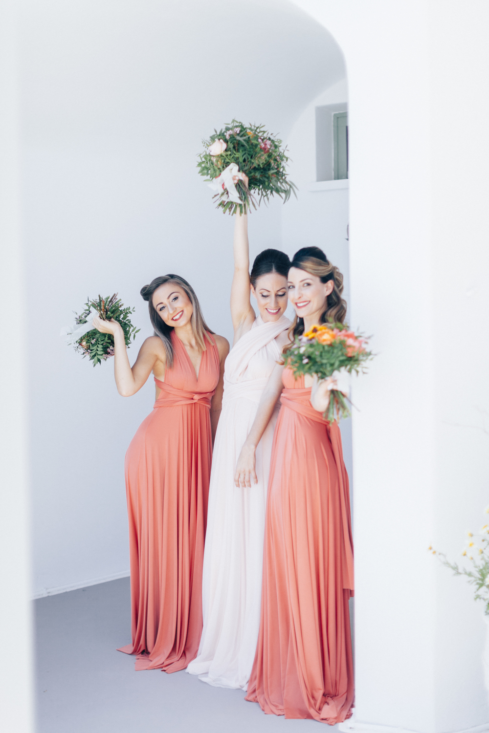 bridesmaids, bride, engaged, wedding, coral dress