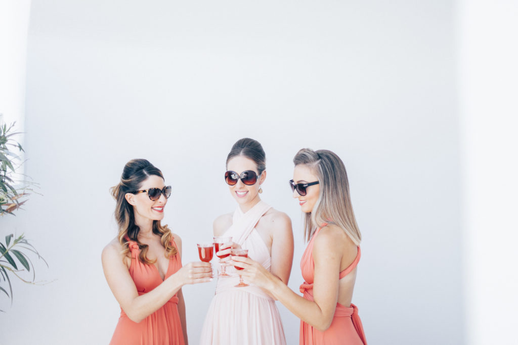 summer wedding, bride, bridesmaids, coral