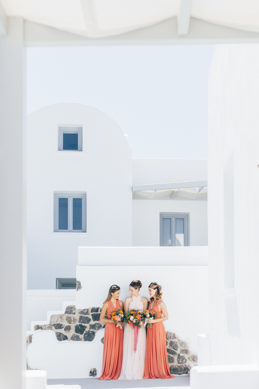 santorini wedding party, bridesmaids, coral dresses