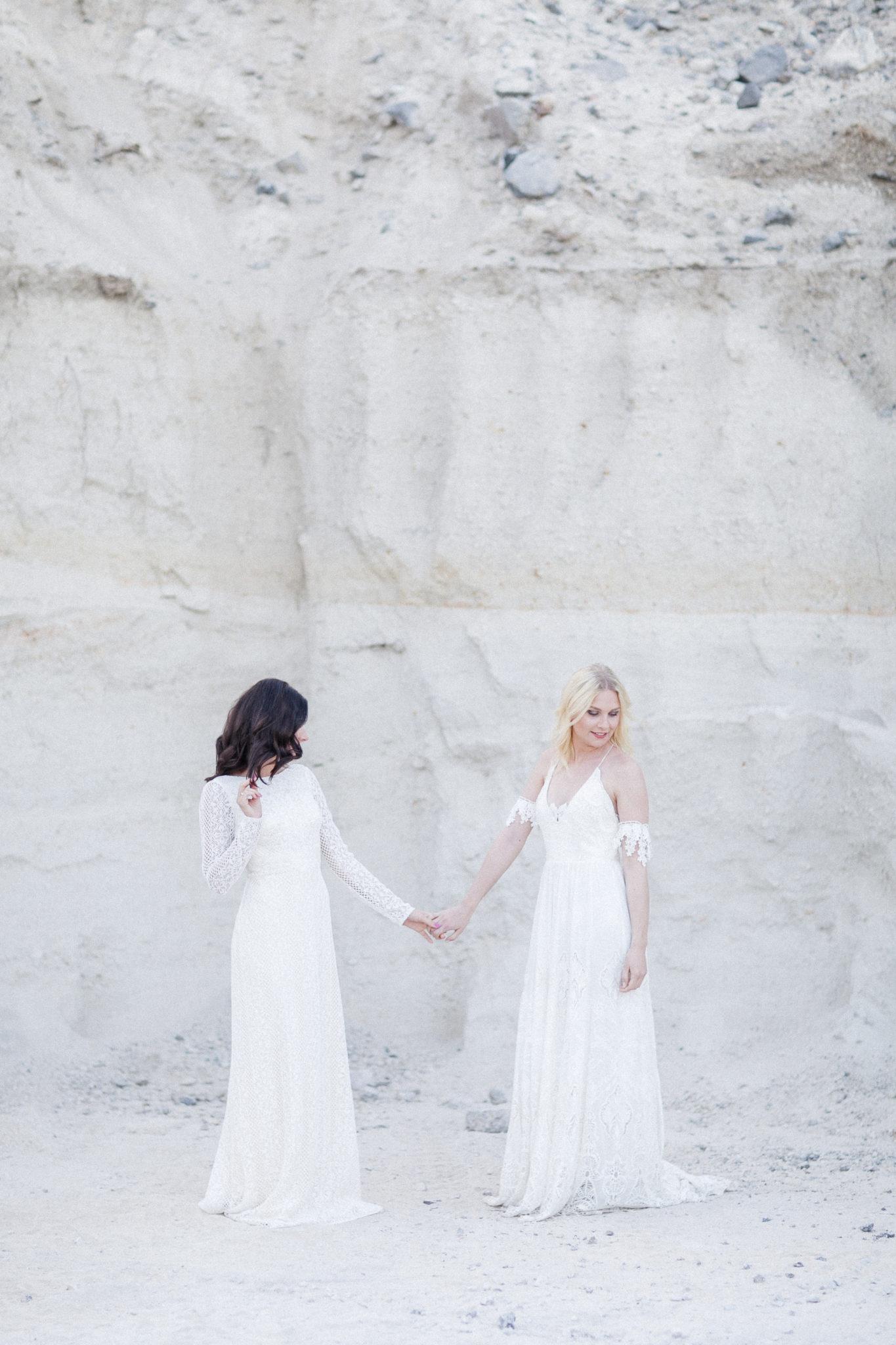 two brides, lgbt wedding, beach wedding