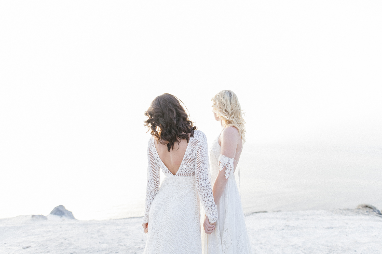 two brides, elope in greece, santorini wedding