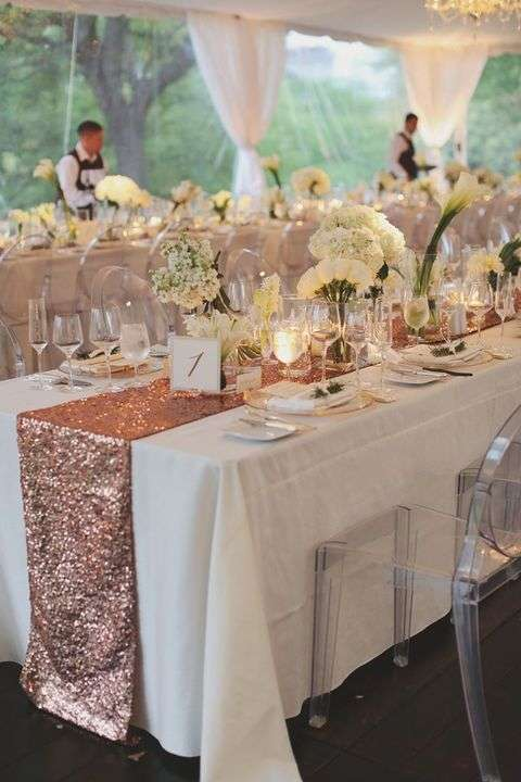 sequin table runner, table decoration wedding