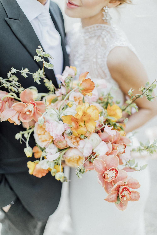 wedding flowers, wedding bouquet, yellow and orange wedding bouquet