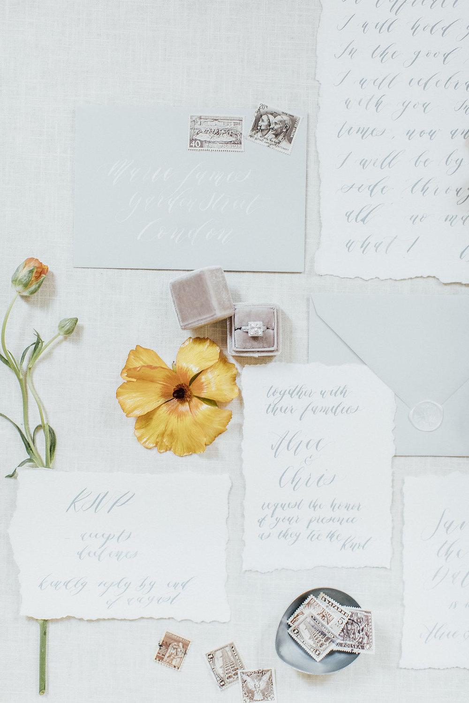 wedding stationery, wedding calligraphy, wedding calligrapher, white and light grey stationery