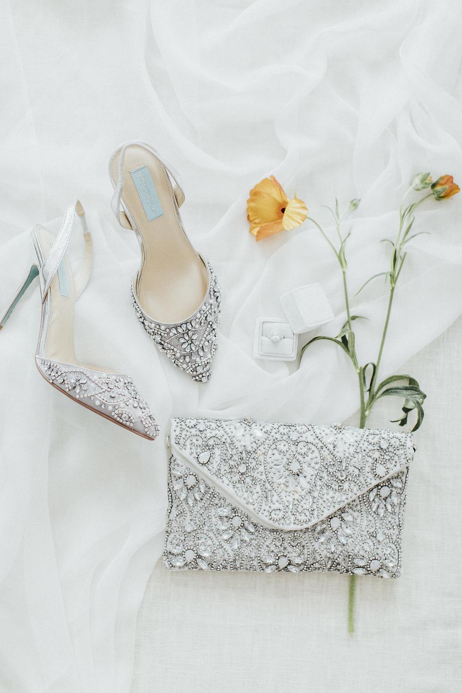 wedding details, wedding shoes, silver wedding accessories, wedding handbag