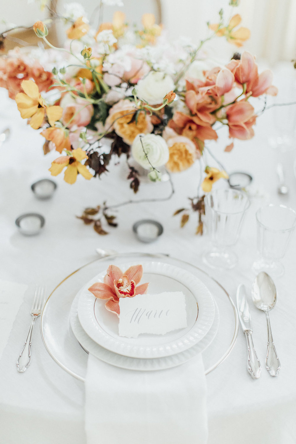 wedding table decoration, wedding table, white orange and silver wedding table