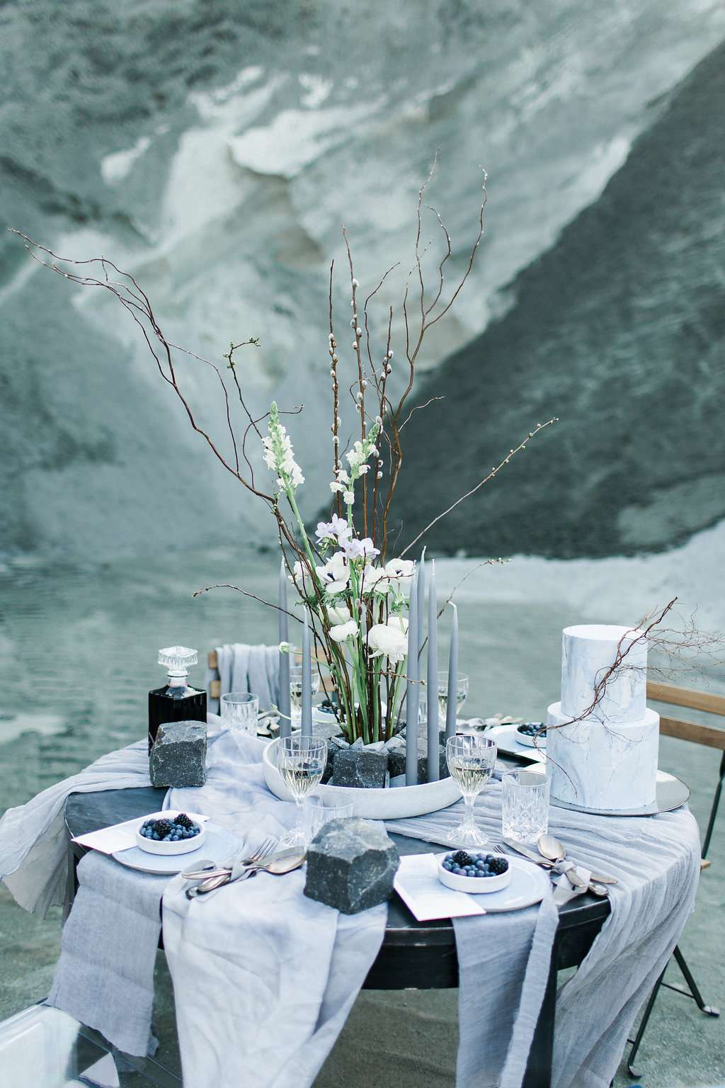 grey wedding table, silk wedding table