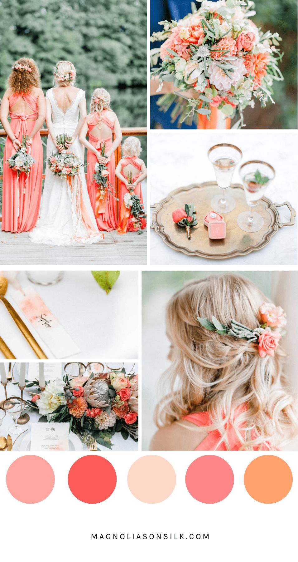 coral wedding scheme, coral wedding color, pantone color 2019