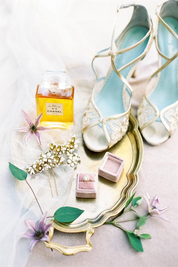 wedding details, wedding flatlay, wedding shoes, wedding perfume, velvet ring box